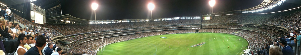 A panoramic view of the Melbourne Cricket Ground from level 4 of the Northern Stand, First game of the 2010 AFL Season between Richmond and Carlton