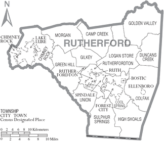 Map of Rutherford County, North Carolina With Municipal and Township Labels