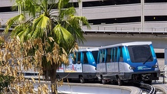a Metromover double-unit train in Arts & Entertainment District (2012)
