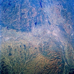 Image of the Mohawk and Hudson valleys from Space Shuttle Challenger.