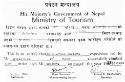 Confirmation of the summit obtained by the Nepalese Ministry of Tourism