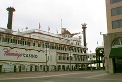 The Flamingo name has been applied to gambling operations elsewhere, such as this New Orleans riverboat, circa 1997