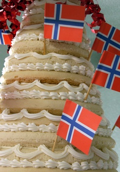 Kransekake cake decorated with small flags of Norway at the Olmsted County Fair in Rochester, Minnesota.
