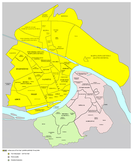 Map of the urban area of Novi Sad with city quarters, showing the location of Banatić