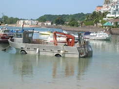Oyster boat in the harbour at Gorey, Jersey