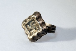 Pagan Lithuanian 13th–14th century ring with a solar symbol, found in Kernavė, the ancient capital of the Grand Duchy of Lithuania