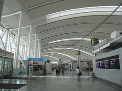 Interior view of Toronto Pearson International Airport's Terminal 1. Toronto Pearson serves as the international airport for the Greater Toronto Area.