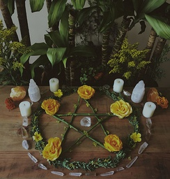 A pentacle is a star with circle around it. It is used by many adherents of Wicca. This symbol is generally placed on a Wiccan altar to honor the elements and directions.