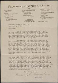1916 Petition from Minnie Fisher Cunningham to New York Congressman Harry H. Dale