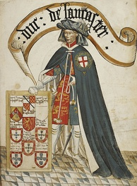 Henry of Grosmont, Earl of Lancaster (later Duke of Lancaster) (d. 1361), the second appointee of the Order, shown wearing a tabard displaying the royal arms of England over which is his blue mantle or garter robe. Illuminated miniature from the Bruges Garter Book made c.1430 by William Bruges (1375–1450), first Garter King of Arms