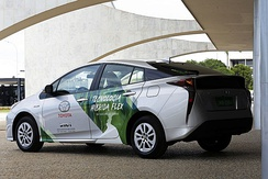 First commercial flex-fuel hybrid electric car tested with a Toyota Prius as development mule.
