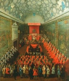 Queen Anne addressing the House of Lords, c. 1708–14, by Peter Tillemans