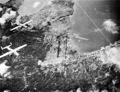 Rabaul under air attack by B-25s of ComAirSols