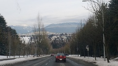 Capitol Hill and North Shore mountains as seen from Deer Lake Park.
