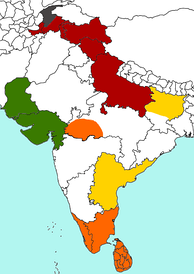 Map of the major geographical centers of Sectarian Buddhist schools in India. Sarvāstivāda (Red), Theravāda (Orange), Mahāsāṃghika (Yellow), Pudgalavāda (Green), Dharmaguptaka (Gray).