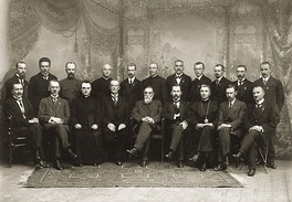 The original 20 members of the Council of Lithuania after signing the Act of Independence of Lithuania, 16 February 1918.
