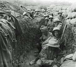 Soldiers in a trench during the Gallipoli Campaign of World War I