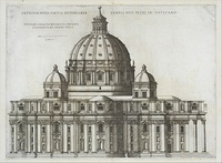 The exterior is surrounded by a giant order of pilasters supporting a continuous cornice. Four small cupolas cluster around the dome.