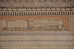 Frieze detailing on the waiting room walls