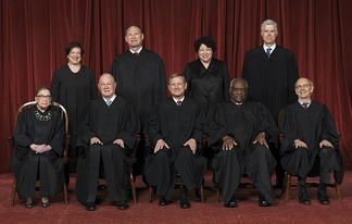 The Roberts Court (April 2017 – present). Front row (left to right): Ruth Bader Ginsburg, Anthony Kennedy, John Roberts (Chief Justice), Clarence Thomas, and Stephen Breyer. Back row (left to right): Elena Kagan, Samuel A. Alito, Sonia Sotomayor, and Neil Gorsuch.