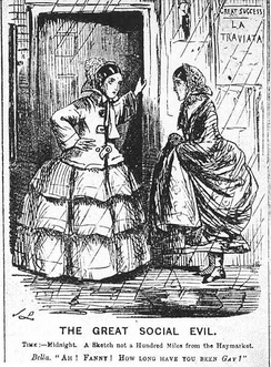 "Cartoon from Punch magazine in 1857 illustrating the use of ""gay"" as a colloquial euphemism for being a prostitute.[7] One woman says to the other (who looks glum), ""How long have you been gay?"" The poster on the wall is for La Traviata, an opera about a courtesan."
