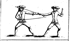 Two men dueling using the smallsword.