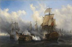 The British HMS Sandwich fires to the French flagship French ship Bucentaure (completely dismasted) into battle off Trafalgar. The Bucentaure also fights HMS Victory (behind her) and HMS Temeraire (left side of the picture). In fact, HMS Sandwich never fought at Trafalgar, it's a mistake from Auguste Mayer, the painter.[35]
