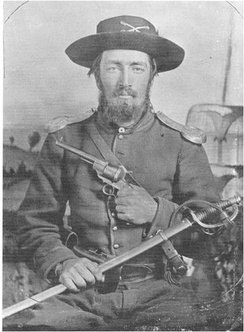 A US Civil war soldier  Cavalry [North] with sabre and Lefaucheux pistol; the brass guards on his shoulders were designed to protect against sword cuts