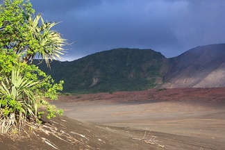 Cinder plain of Mount Yasur on Tanna island.