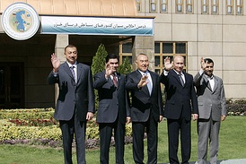 Participants of the second Caspian Summit in October 2007. From left to right: President of Azerbaijan Ilham Aliev, President of Turkmenistan Gurbanguly Berdymukhammedov, President of Kazakhstan Nursultan Nazarbaev, President of Russia Vladimir Putin and President of Iran Mahmoud Ahmadinejad.