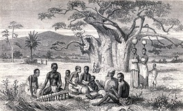 Mbira player with other musicians from 1865 book