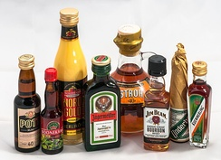 Some single-drink liquor bottles available in Germany