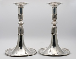 18th-century silver trumpet candlesticks from Lausanne