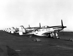 North American F-51D Mustangs of the 192d Fighter-Bomber Squadron (Nevada Air National Guard) at Keflavik AFB, Iceland, in 1952–1953