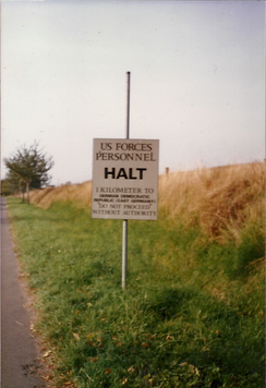 Sign warning of approach to within one kilometer of the inter-zonal German border, 1986