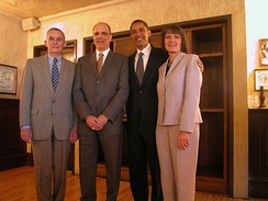 Lipinksi (far left) in 2004 with Steve Schlickman and Illinois State Senators Barack Obama and Julie Hamos