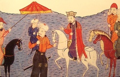 Ghazan as a child, in the arms of his father Arghun, standing next to Arghun's father Abaqa, mounted on a horse