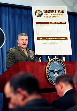 Gen. Anthony C. Zinni briefs reporters at The Pentagon following Operation Desert Fox, 21 December 1998.