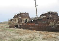 Брошенное судно в районе города Аральска
