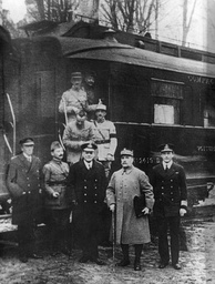 Ferdinand Foch, second from right, pictured outside the carriage in Compiègne after agreeing to the armistice that ended the war there. The carriage was later chosen by Nazi Germany as the symbolic setting of Pétain's June 1940 armistice.[191]