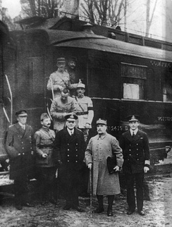Ferdinand Foch, second from right, pictured outside the carriage in Compiègne after agreeing to the armistice that ended the war there. The carriage was later chosen by Nazi Germany as the symbolic setting of Pétain's June 1940 armistice.[186]