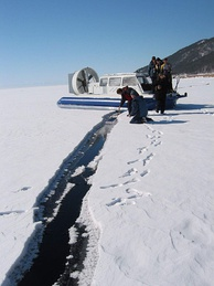 Ice cover survey on the lake
