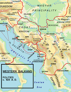 Kingdom of Croatia c. 925, during the reign of King Tomislav