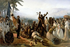 """Abolition of Slavery in French Colonies, 1848"" by Auguste François Biard (1849)."