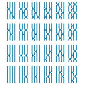 The 24 elements of a permutation group on 4 elements as braids. All crossings shown are of the left-over-right type, but other choices are possible. Changing the order of the operations can change the result, meaning that the operations are non-commutative.