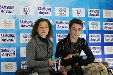 Joubert with coach Veronique Guyon at the 2010 Cup of China