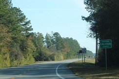 The sign for Calhoun County on FL 20