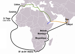 Vasco da Gama's 1497–1499 travel to India (black). Previous travels of Pêro da Covilhã (orange) and Afonso de Paiva (blue), and their common route (green)