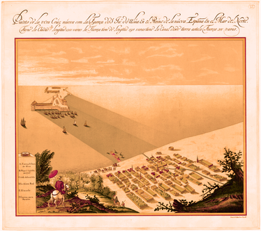 "Drawing of the City of Veracruz and San Juan de Ulúa in 1615. It was called ""City of Tables"" because the houses were of wood with flat thatched roofs."