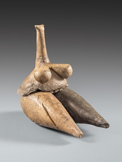 Clay human figurine (Fertility goddess) Tappeh Sarab, Kermanshah ca. 7000–6100 BC, Neolithic period, National Museum of Iran